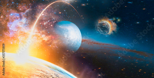 Wall mural Landscape of Sunrise and Earth view from space. (Elements of this image furnished by NASA)