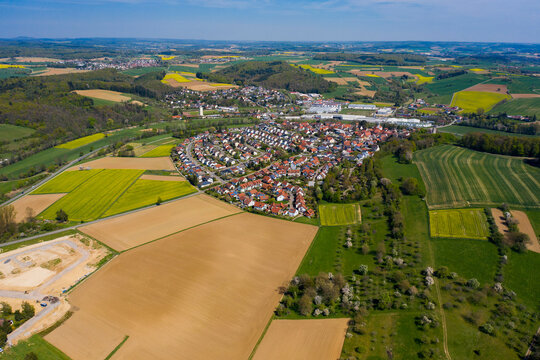 Aerial view of the Village Neidenstein in Germany on a sunny spring day during the coronavirus lockdown.