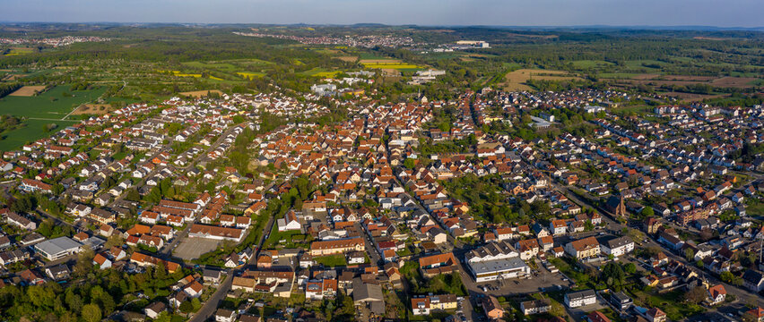 Aerial view of the city Bad Schönborn in Germany on a sunny spring day during the coronavirus lockdown.