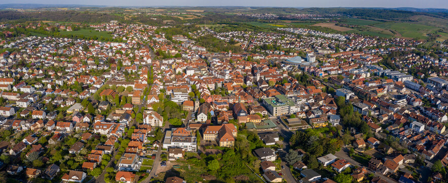 Aerial view of the city Wiesloch in Germany on a sunny spring day during the coronavirus lockdown.
