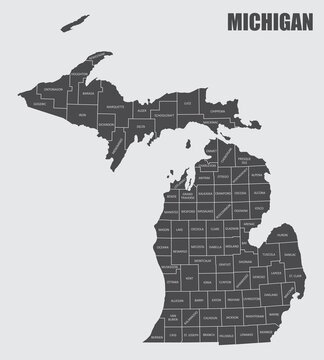 The Michigan State County Map with labels