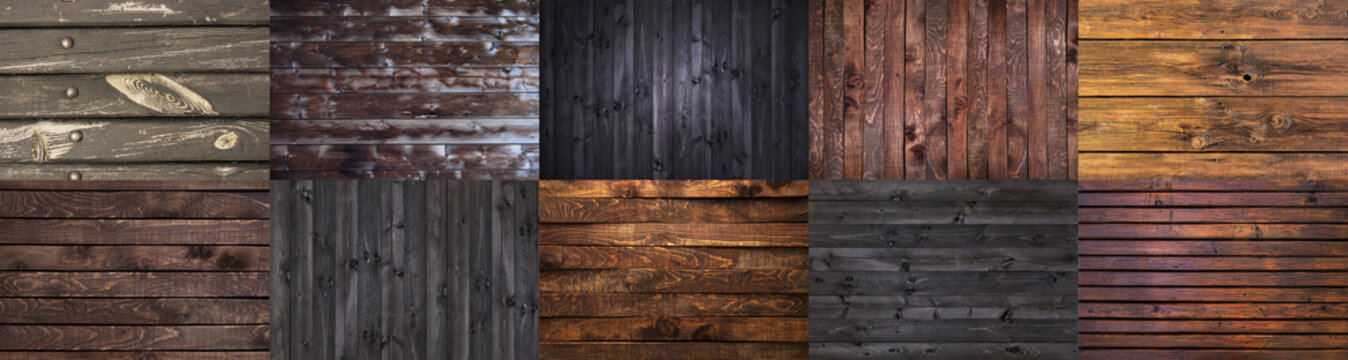 Collection of different dark wooden backgrounds, grunge wooden textures