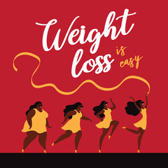 Weight loss is easy. Set of running girls, fat and thin. Before and after.