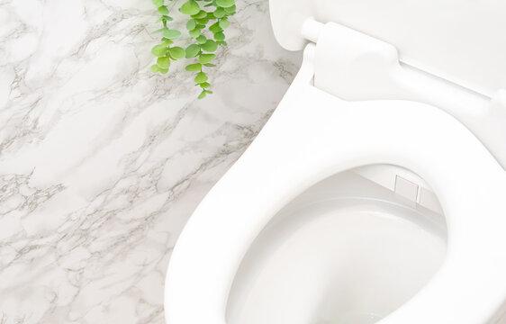 白い大理石の背景とウォシュレット付きのトイレ