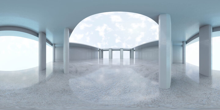 Abstract concrete architecture 3d render 360 panorama illustration Equirectangular illustration