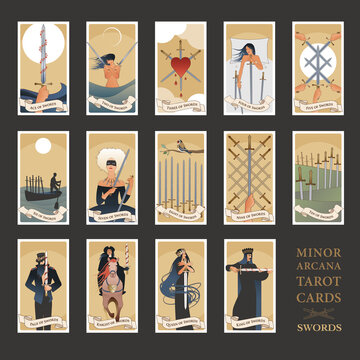Minor Arcana Tarot cards. Swords From Ace to the figures of the Court. JPG High resolution