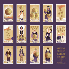 Minor Arcana Tarot cards. Pentacles From Ace to the figures of the Court. JPG High resolution