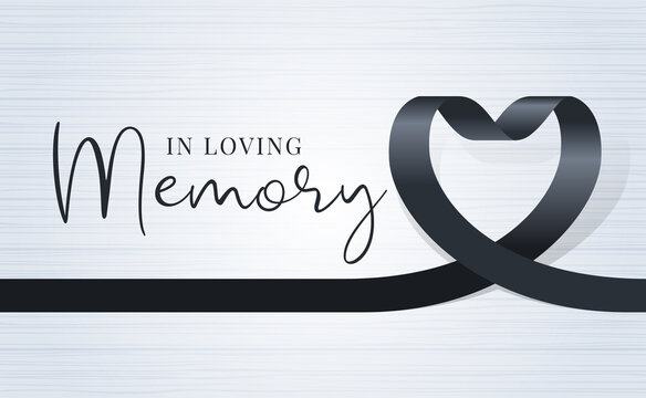 in loving memory text and black heart ribbon sign on soft light wood texture background vector design