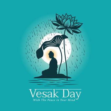 Vesak day banner with The Lord Buddha meditated under Big lotus leaf and flower in raining and full moon night