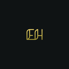 Fototapeta Creative Minimal  Geometric style EH HE E H letter icon logo obraz