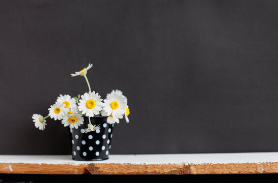 summer flowers stand on a shelf on a black background