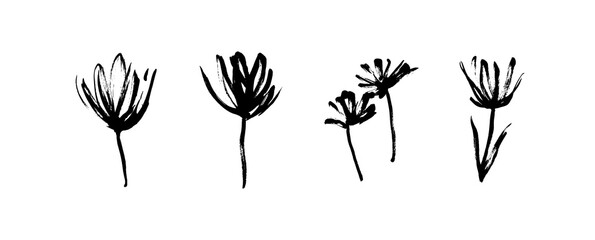 Grunge dirty decorative flowers. Hand drawn black vector floral collection, isolated on white background. Modern ink expressive brush strokes graphic art