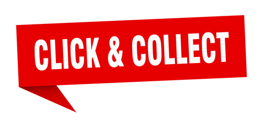 click & collect banner. click & collect speech bubble. click & collect sign