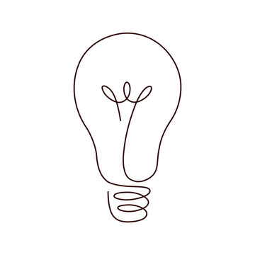 Light bulb continuous line vector illustration with editable stroke.