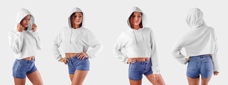 Mockup of a white crop top on a young girl in blue shorts, an empty hoodie for design presentation, front view, side view, back view.