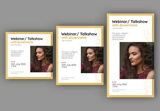 Webinar Talk Show Social Media Layout Set