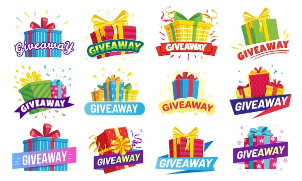 Giveaway banner, prize in colorful boxes with ribbons. Special offer for gift winner in contest. Present or reward in competition. Announcement or social media post vector illustration.