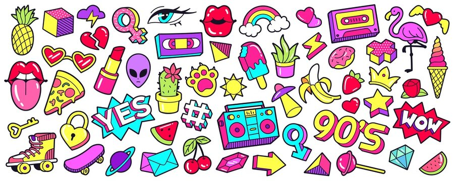 Retro 90s patches. Cartoon mouth lips, ice cream, rainbow, cherry and banana stickers, nineties pop badges and trendy 1990s sneakers vector illustration set. Colorful icons and pins in comic style.