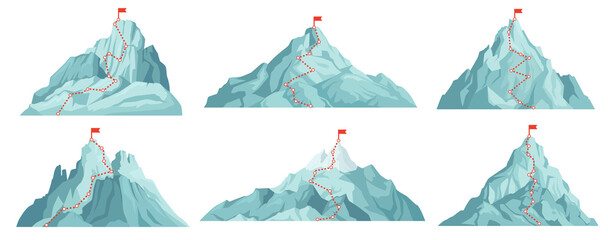 Route to mountain peak. Climbing to mountains with red flag on top. Progress infographics, success business, vision concepts. Career growth or development cartoon vector illustration.