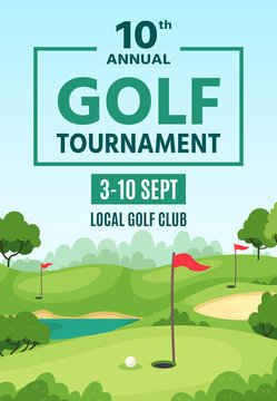 Golf poster. Green course, holes with flagsticks and sand traps, championship or tournament flyer, golf club event banner vector template. Outdoor summer spare time activity, hobby.