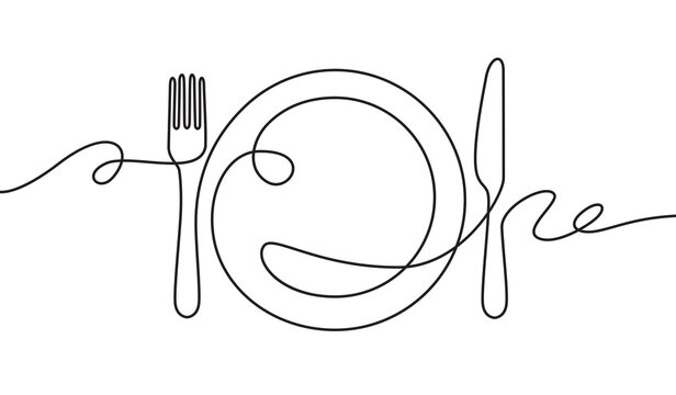 Line fork, knife and plate. Continuous one line drawing cutlery, cooking utensils. Hand drawn dishware for restaurant logo or menu cover in linear style art concept vector illustration.