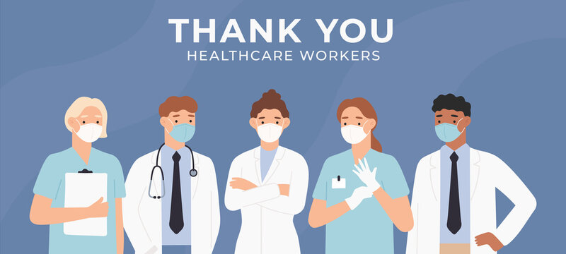 Thank you doctors. Brave healthcare workers fighting coronavirus outbreak in hospitals. Medical personnel doctors and nurses, appreciation to medical staff. Covid 19 pandemic vector illustration.