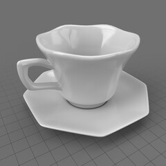 Floral shaped cup and saucer