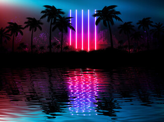 Night landscape with palm trees, against the backdrop of a neon sunset, stars. Silhouette coconut palm trees on beach at sunset. Futuristic landscape. Neon palm tree. Tropical sunset. 3D illustration
