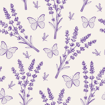 Vintage seamless pattern with lavender flowers and butterflies.