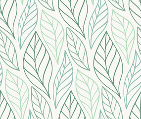 Vector hand drawn leaves seamless pattern. Abstract trendy floral background. Repeatable texture.