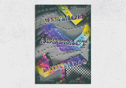 Vintage Abstract Poster Layout with Gradient Background