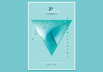 Technology Summit Poster Layout with Abstract Triangle Design