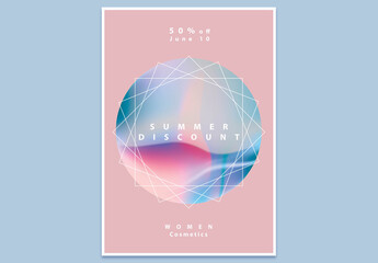 Modern Abstract Poster Layout with Pastel Gradient Geometric Design