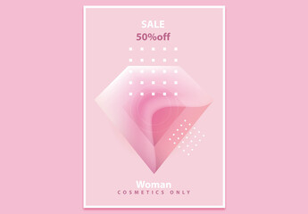 Contemporary Poster Layout with Pink Abstract Polygonal Design