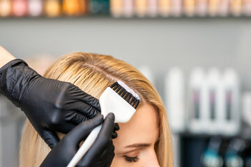 Hands of hairdresser dyeing hair of woman with brush at beauty salon.