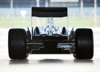 Printed roller blinds F1 Race car sitting in garage