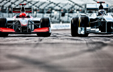 Acrylic Prints F1 Race cars driving on track
