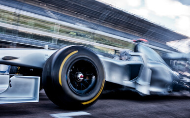 Acrylic Prints F1 Race car driving on track