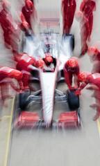 Foto op Aluminium F1 Racing team working at pit stop