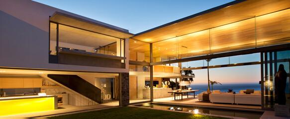 Illuminated patio of modern house