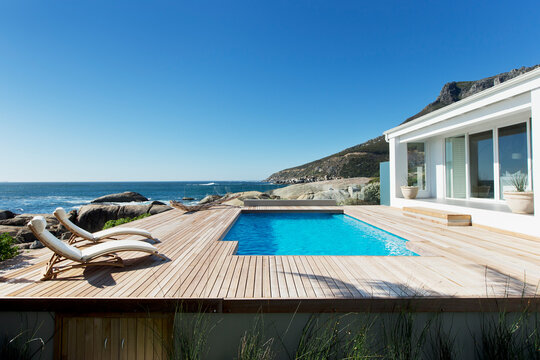 Luxury swimming pool with ocean view