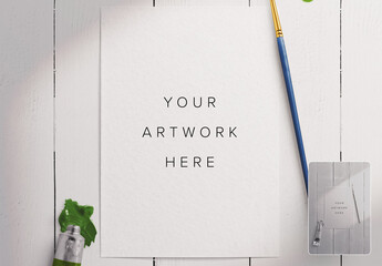 Watercolor Paper Art Scene Mockup with Brush and Paint