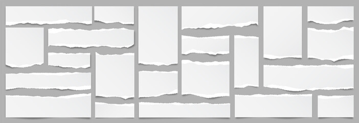 Obraz White ripped paper strips collection. Realistic paper scraps with torn edges. Sticky notes, shreds of notebook pages. Vector illustration. - fototapety do salonu