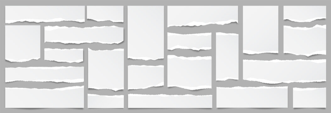 White ripped paper strips collection. Realistic paper scraps with torn edges. Sticky notes, shreds of notebook pages. Vector illustration.