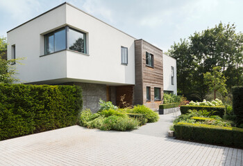 Hedges around modern house