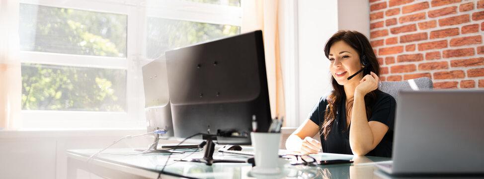 Customer Service Business Receptionist Using Headset