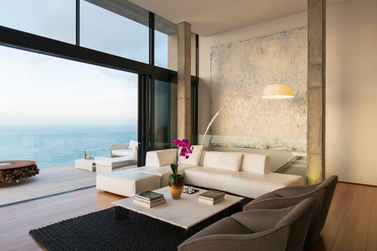 Modern living room overlooking ocean
