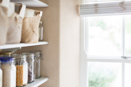 Dry goods and window of pantry