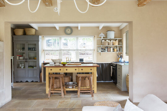 Island in kitchen of rustic house