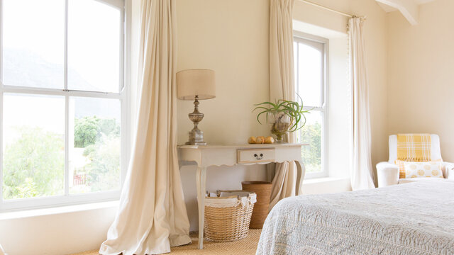 Curtain and vanity table in rustic bedroom